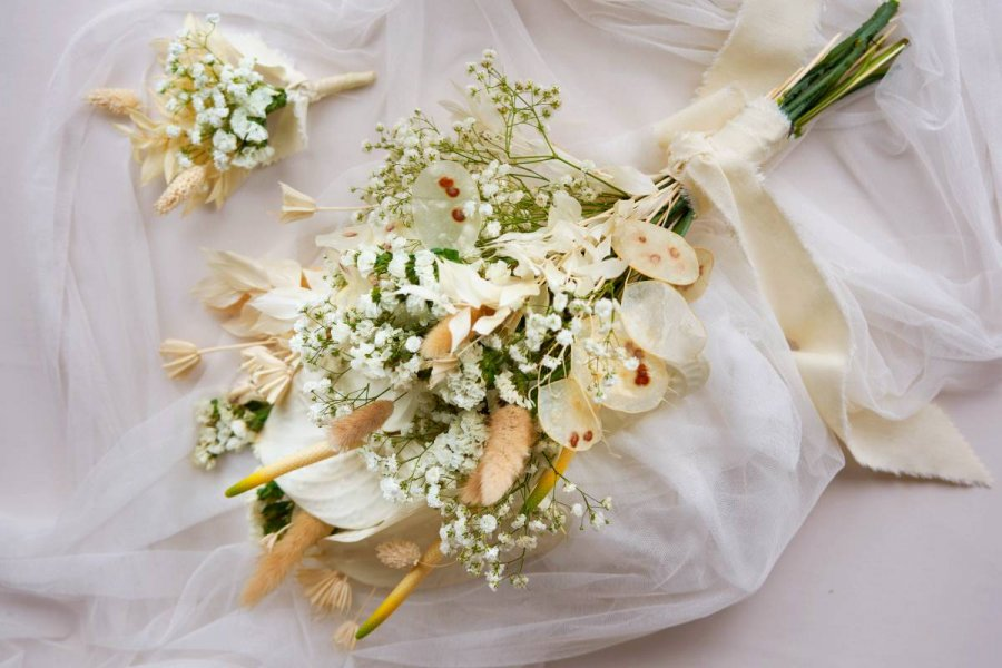 Anthurium, Baby's Breath and Assorted Dried Foliage