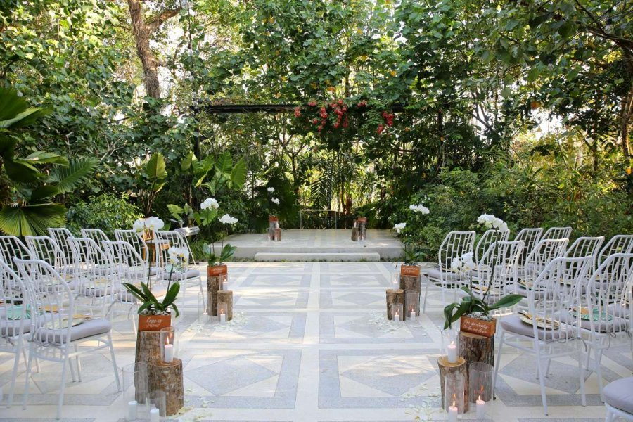 The Ceremony at Glass House | Garden Wedding